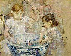 Niñas jugando con barreño de agua. 1875. Óleo sobre lienzo.