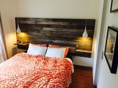 DIY Homemade timber headboard w floating bedsides & pendant lights. Made…