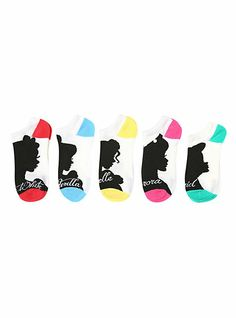 Disney Princess Silhouette No-Show Socks 5 Pack | Hot Topic... i know what i want for my birthday now.