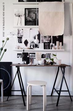 Omdat je nooit genoeg ideetjes kunt opdoen. Hang, plak of zet inspirerende spulletjes in de kijker! LINNMON / ODDVALD tafel #IKEABE  #IKEAxLivetHemma  Because you can never have enough ideas. Hang, stick or put inspiring things in the spotlight! LINNMON / ODDVALD table #IKEABE  #IKEAxLivetHemma