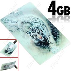 4GB USB 2.0 флэш карты памяти/U диск-кредитная карта стиль/китайский белый тигр дизайн CUD-27571