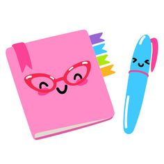 Silhouette Design Store: Kawaii School Planner And Pen Kawaii 365, Kawaii Chibi, Kawaii Cute, Kawaii Doodles, Cute Doodles, Kawaii Drawings, Cute Drawings, School Hallway Decorations, School Clipart