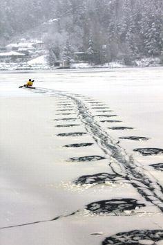 Kayak surfing on Ice