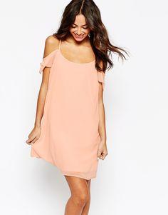 New+Look+Cold+Shoulder+Chiffon+Dress