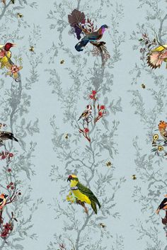 Birds n Bees Wallcovering wallpaper from Timorous Beasties in Duck Egg Blue Fabric Wallpaper, Of Wallpaper, Designer Wallpaper, Pattern Wallpaper, Vintage Bird Wallpaper, Beautiful Wallpaper, Bathroom Wallpaper, Wallpaper Backgrounds, Designers Guild