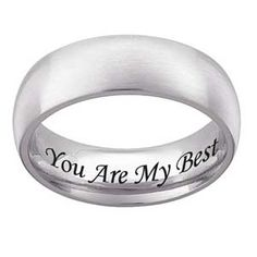<3 7.0mm Engraved Wedding Band (25 characters) in Stainless Steel - View All Personalized Jewelry - Zales
