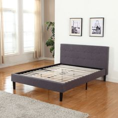 Divano Roma Furniture Tufted Grey Platform Queen Bed Frame with Wooden Slats – A Luxury Bed – Silk Sheets Bedspreads Luxury Bedding Upholstered Platform Bed Queen, Grey Platform Bed, Upholstered Bed Frame, Platform Bed Frame, Panel Headboard, Wood Headboard, Murphy Bed Ikea, Murphy Bed Plans, Houses