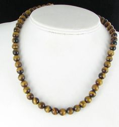 Tiger's eye bead necklace  8mm gold tone by vintagejewelrylane, $15.99