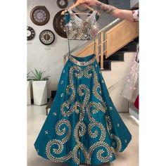 Lehenga Choli : Blue taffeta silk cording embroidered work ...