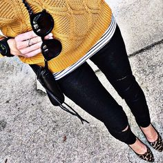 Black & White Striped Top + Orange Sweater + Ripped Black Jeans + Leopard Shoes // Alyson_haley on Instagram