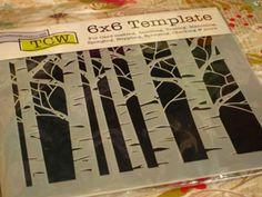 Birch Tree Stencil 4.99  Impressrubberstamps.com