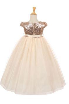 Blush Short Sleeve Sequin Bodice & Tulle Skirt Flower Girl Dress