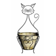 Cat Planter with Coco Liner-81013 - The Home Depot