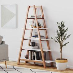 Wooden Ladder Shelf, Ladder Bookshelf, Cool Bookshelves, Diy Ladder, Triangle Bookshelf, Ladder Shelf Decor, A Shelf, Leaning Ladder Shelf, Triangle Shelf