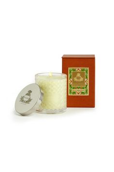 Lime & Orange Blossoms Candle Agraria's Crystal Candles are presented in a decorative crystal glass that is a modern interpretation of the woven palm leaf cases that were an Agraria trademark in the 1980s. The intricate glass pattern accentuates the movement of the flame to create a luminous and mesmerizing glow. Each 7 oz/198 gram candle includes a sliver-plate lid stamped with the Agraria crest.    Approximate burning time: 30-40 hours.   Lime & Orange Candle by Agraria. Home & Gifts…