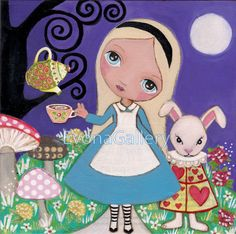 Alice in Wonderland print,  Mixed Media,Girls Painting, Wall Decore by EvonaGallery