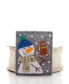 Snowman Christmas Ornament, Handmade Christmas Decoration, Felt Gingerbread Man, Felt Christmas Tree Decoration