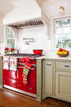15 Gorgeous Red Kitchen Decor Photos - There are on-line kitchen design providers that allow you to design your kitchen on-line. Red Kitchen Cabinets, Red Kitchen Decor, Farmhouse Kitchen Decor, Kitchen Ideas, Ikea Kitchen, White Cabinets, Kitchen Flooring, Kitchen Furniture, Kitchen Worktops