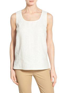 'Cleo' Sequin Front Sleeveless Linen Blouse