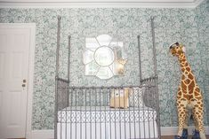Project Nursery - Chic and Sophisticated Nursery Crib View A mirror like this would be perfect with our wallpaper