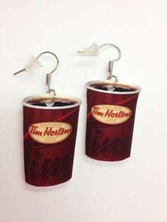 Tim Horton's Coffee Earrings by KarinaMadeThis on Etsy, $5.00