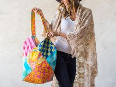 An everyday tote bag with a variety of exotic, handmade designs.