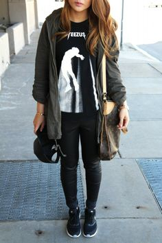 Sporty casual wear from Sbstylediary.com #yeezus #fallfashion #louisvuitton #nikeairmaxes #leatherpants #leatherballcap