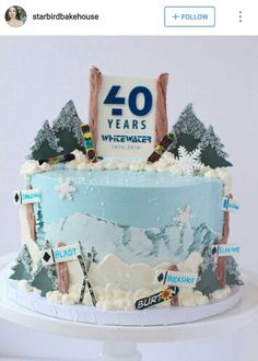 Ski cake lyiar Pinterest Cake Birthday cakes and Birthdays