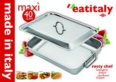 INOXRIV - EATITALY teglia rettangolare cm. 40x32 con coperchio - Eatitaly oven pan 40x32 cms with lid