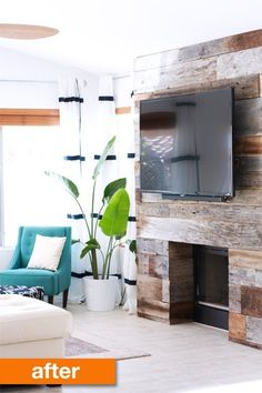 Before & After: Kristi's DIY Reclaimed Wood Fireplace