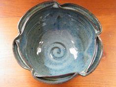 Double lip Bowl in Blue. $40.00, via Etsy.