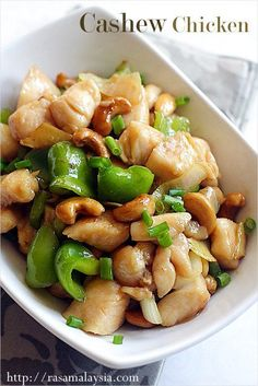 Chinese Recipe: Cashew Chicken  Fakeout Takeout: Chinese restaurant style Cashew Chicken. I ♥ this recipe. I like to replace the sugar in the recipe with Thai chili sauce or add a squirt of Sriracha to the sauce, but it's a fantastic recipe.