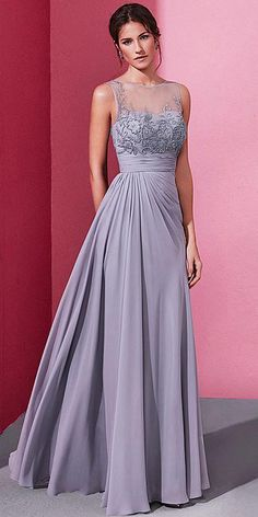 long prom dresses - Enchanting Chiffon Jewel Neckline Aline Prom Dress With Beaded Embroidery Stunning Dresses, Beautiful Gowns, Elegant Dresses, Pretty Dresses, A Line Prom Dresses, Formal Evening Dresses, Evening Gowns, Bridesmaid Dresses, Quinceanera Dresses