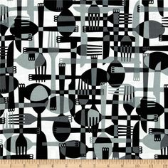 Kanvas Toss & Serve Utensils Black/White from @fabricdotcom Designed by Maria Kalinowski for Kanvas Studios for Benartex, this cotton print is perfect for quilting, apparel and home decor accents. Colors include black, white and grey.