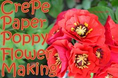 Learn how to make Crepe paper red poppy flowers at home. Easy step by step instructions for making a lovely handmade gift article.