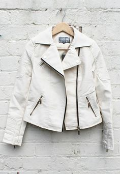 Leather Look Double Breasted Biker Jacket in Cream