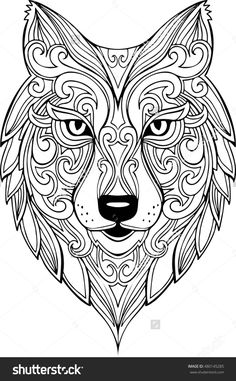 Vector Hand Drawn Doodle Wolf Head Illustration. Zentangle Decorative Wolf Head Drawing For Coloring Book - 480145285 : Shutterstock