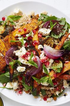 55 minutes · Serves 4 · There's no wilting lettuce leaves or 'boring' diet ingredients here! With Moroccan-spiced roast veggies and couscous full of juicy currants and crumbly feta, this epic salad is perfect for a healthy… Veggie Dishes, Vegetable Recipes, Vegetarian Recipes, Healthy Recipes, Roast Vegetable Salad, Vegetable Pizza, Whole Food Recipes, Dinner Recipes, Cooking Recipes