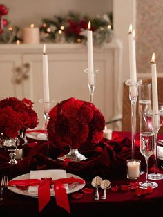 Elegant Christmas table decor.  I like the ribbon tied around the plates.