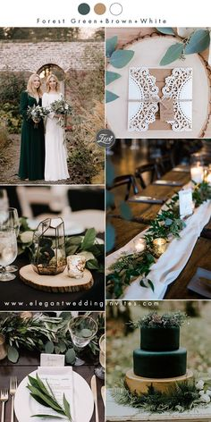 forest green,brown and white organic winter wedding ideas forest wedding 20 Greenery Filled Winter Wedding Ideas to Inspire Winter Wedding Colors, Winter Wedding Decorations, Winter Wedding Inspiration, Wedding Themes, Fall Wedding, Dream Wedding, Winter Bride, Wedding Gowns, Christmas Wedding