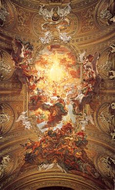 Baciccia [Giovanni Batista Gaulli] – Triumph of the Name of Jesus (1676-1679) fresco     ceiling fresco in Il Gesù, Rome