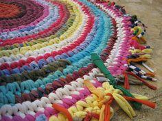 Joyful Round Crocheted Fabric Rag Rug ..
