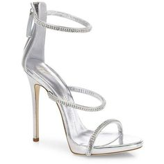 Giuseppe Zanotti Swarovski Crystal Accented Leather Sandals ($1,000) ❤ liked on Polyvore featuring shoes, sandals, heels, apparel & accessories, swarovski crystal sandals, stiletto heel shoes, leather shoes, peeptoe shoes and stiletto shoes