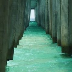 Aqua - looks so relaxing.  Pier & waves make the water look like steps