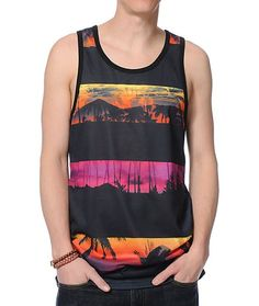 A sublimated tropical graphic with contrasting stripes throughout will take your style on vacation with the added comfort of the lightweight and smooth polyester construction.