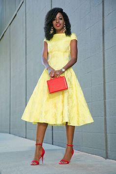 Fit And Flare Full Skater Jaquard Dress Style Pantry waysify Fashion Mode, Modest Fashion, Look Fashion, Street Fashion, Cute Dresses, Beautiful Dresses, Summer Dresses, African Wear, African Dress