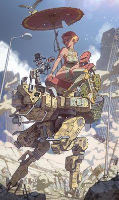 Art by Vasiliy Kovpak Character Concept, Character Art, Character Design, Arte Cyberpunk, Arte Robot, Robot Concept Art, Futuristic Art, Bd Comics, Ex Machina