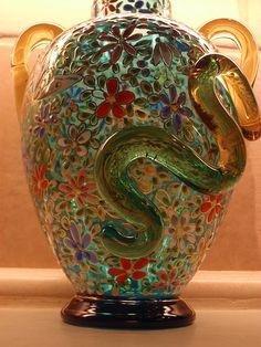 Moser snake vase, from around 1885