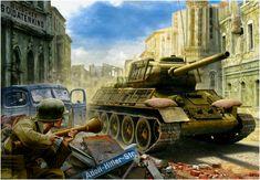 Soldado aleman aprestandose a usar su Panzerfaust contra un T-34/85, que lleva unos somieres improvisados a modo de proteccion. Berlin mayo de 1945. Valery Petelin http://www.elgrancapitan.org/foro/viewtopic.php?f=12&t=17519&start=5850#p709608