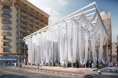 pinkcloud dk proposes 'dubai smiles', a pavilion with huge hammocks is part of Pavilion architecture - architecture studio pinkcloud dk developed dubai smiles, a solution of the lack of recreational areas for adults in the bur dubai district of dubai Interior Design Career, Interior Design Dubai, Villa Architecture, Chinese Architecture, Architecture Office, Futuristic Architecture, Sustainable Architecture, Contemporary Architecture, Street Furniture